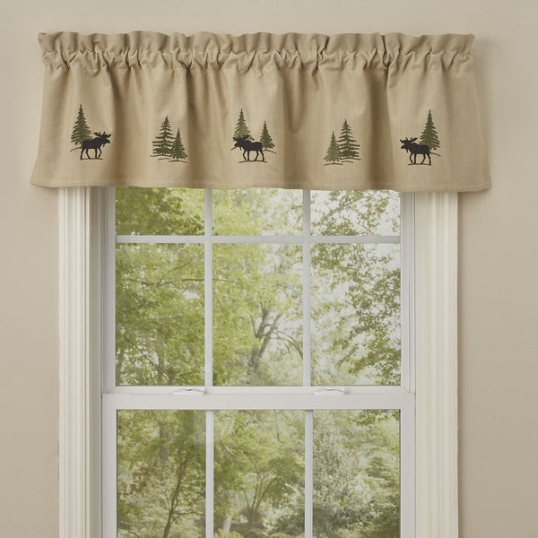Embroidered Moose and Trees Window Valance UK