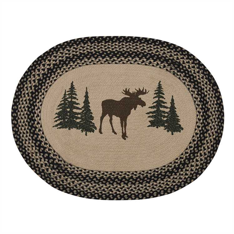 Moose and Trees Log Cabin Rug