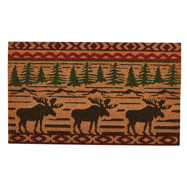 Moose and Trees Log Cabin Style Doormats UK