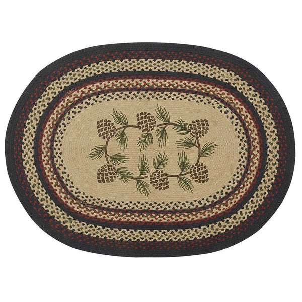 Pinecones Braided Log Cabin Style Rug
