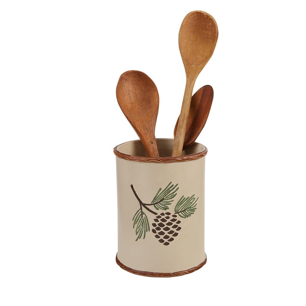 Pinecroft Utensil Holder with Pinecone
