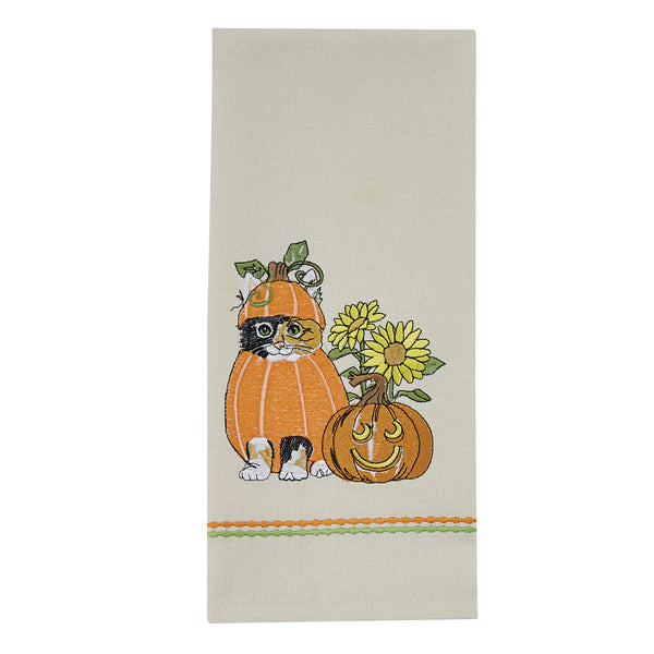 Pumpkin Patch Kitty Tea Towel