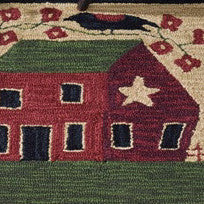 Saltbox House and Flowers Hooked Folk Art Rug