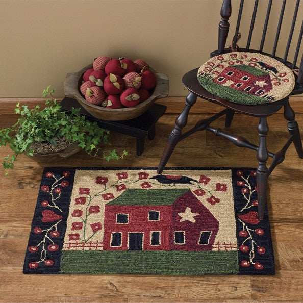 Red Saltbox House Hooked Rug