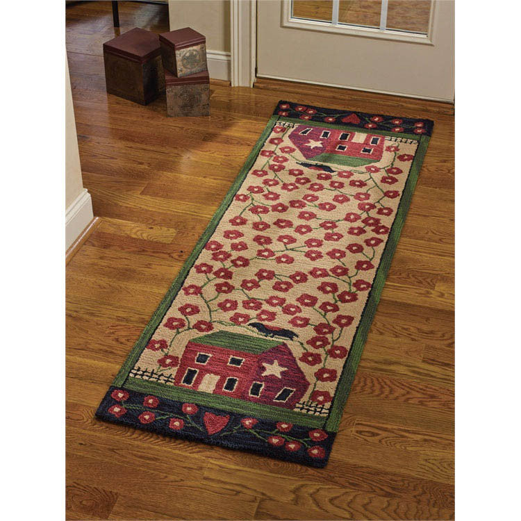 Saltbox House and Flowers Hooked Floor Runner