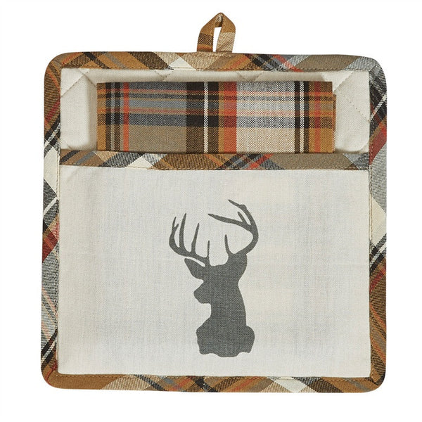 Roaring Thunder Deer Pot Holder and Towel Set