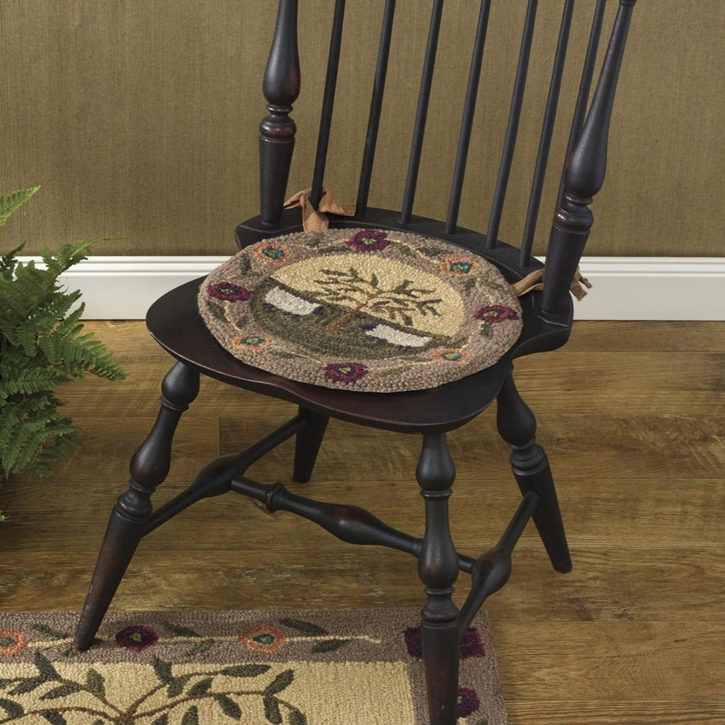 Sheep and Willow Trees Hooked Chair Pad