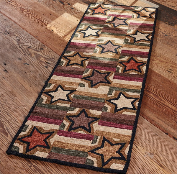 Star Block Hooked Floor Runner Rug