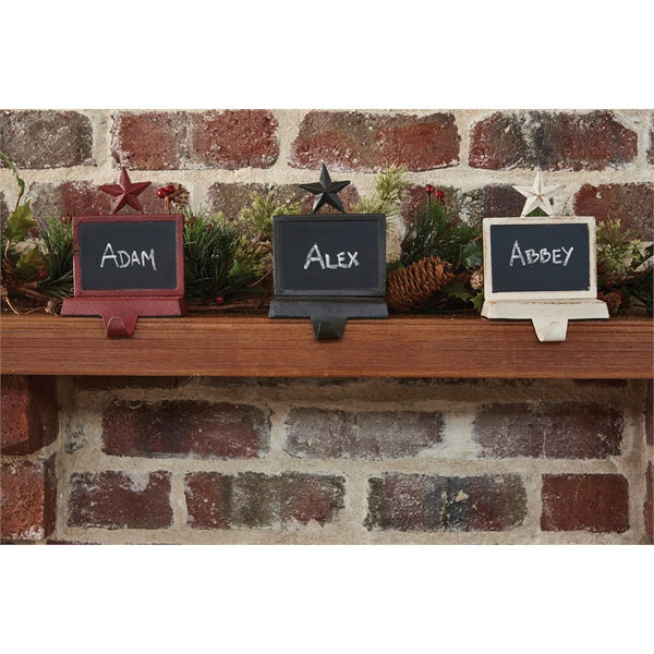 Barn Star Christmas Stocking Hanger with Chalkboard