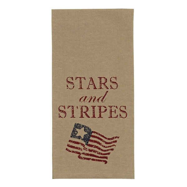 Vintage Style Stars and Stripes Printed Towel