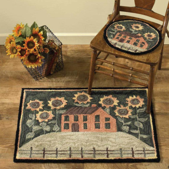 House and Sunflowers Hooked Folk Art Rug