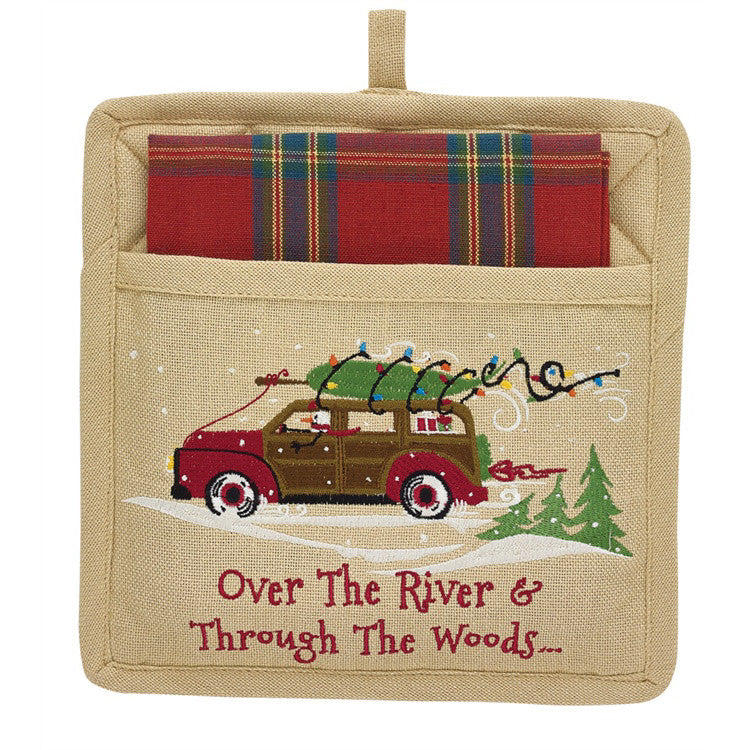 Christmas Pot Holder and Check Towel Gift Set