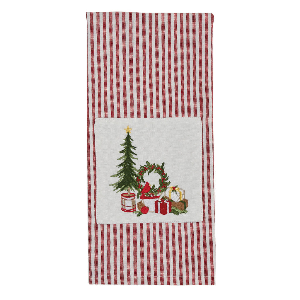 Tree and Wreath Embroidered Christmas Towel