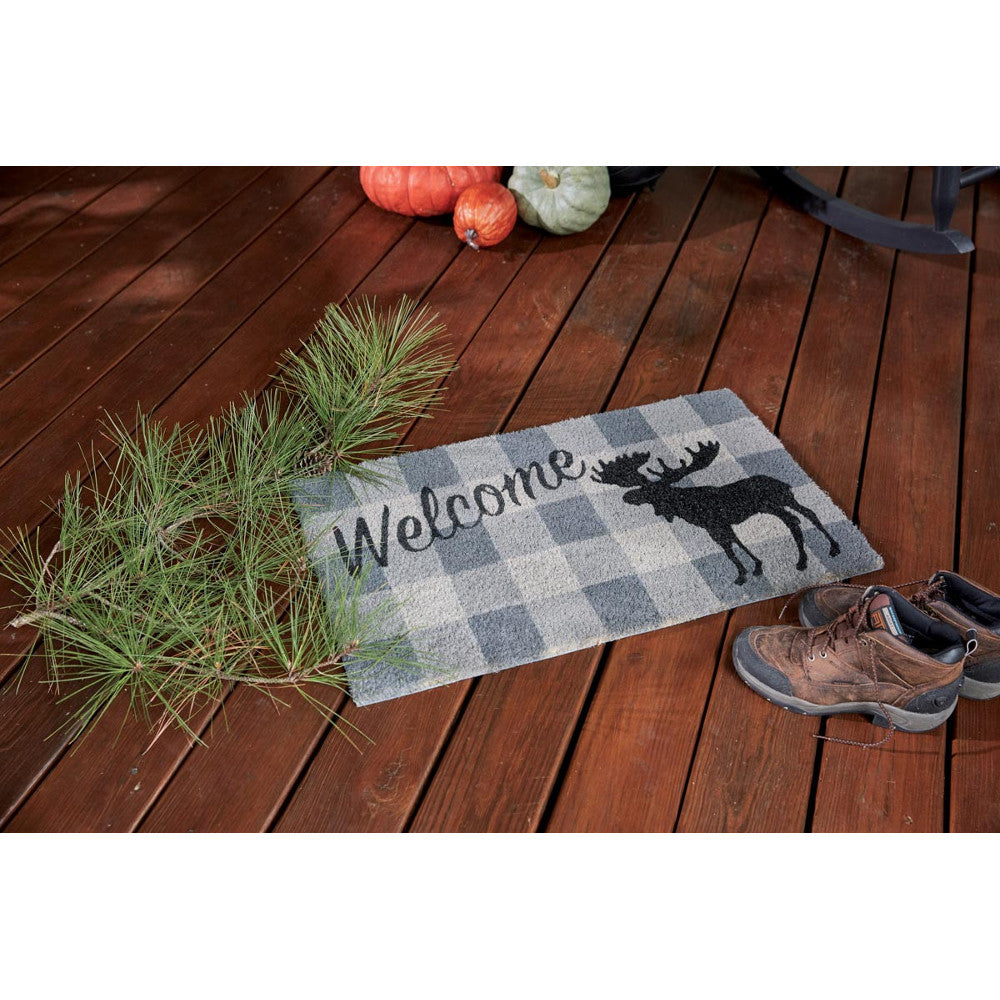 Grey Welcome Moose Check Doormat