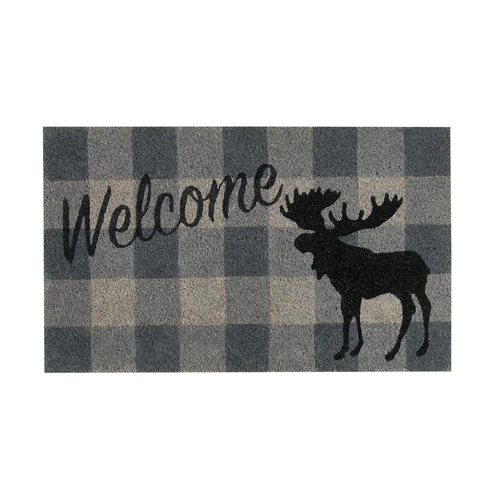 Grey Check Welcome Moose Doormat UK