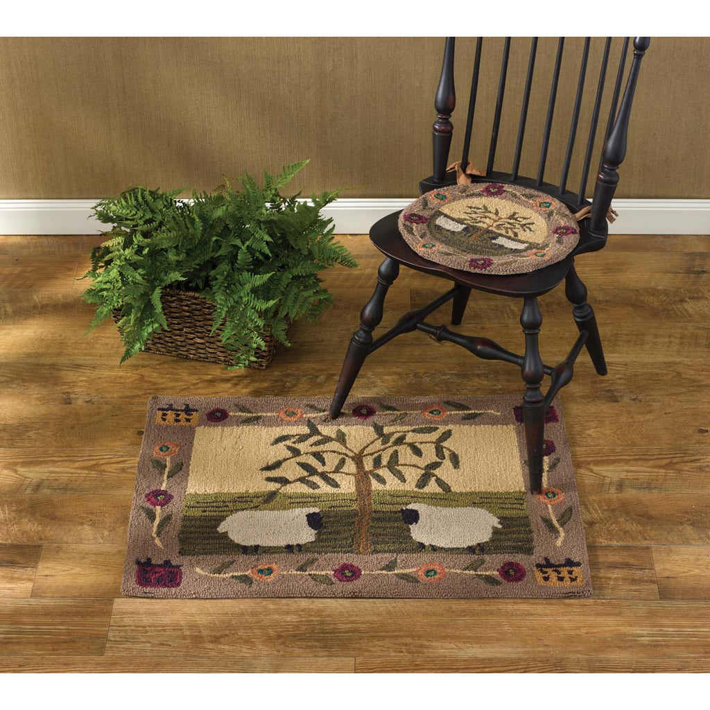 Sheep and Willow Tree Hooked Chair Pad