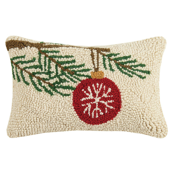 Ornament on Pine Branch Hooked Cushion