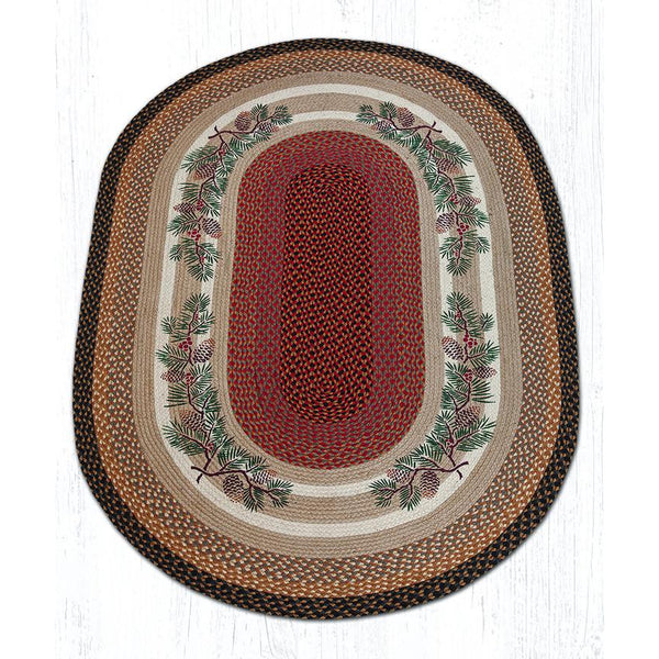 Pinecones Oval Jute Braided Rug