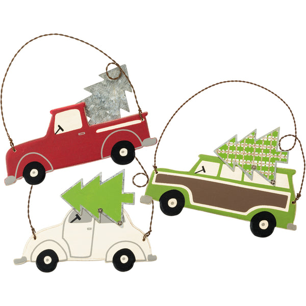 Bringing Home the Tree Retro Car Tree Ornaments