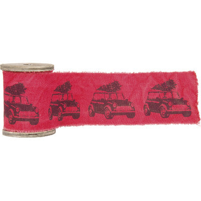 XL Cotton Ribbon with Christmas Mini Car Design