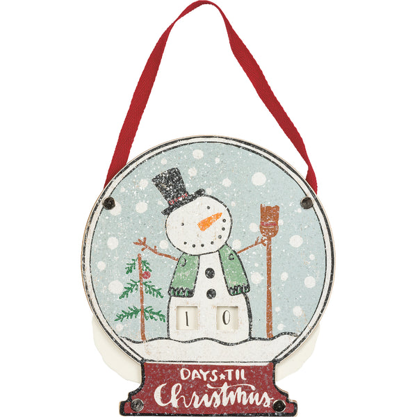 Snowman Days Til Christmas Countdown Plaque