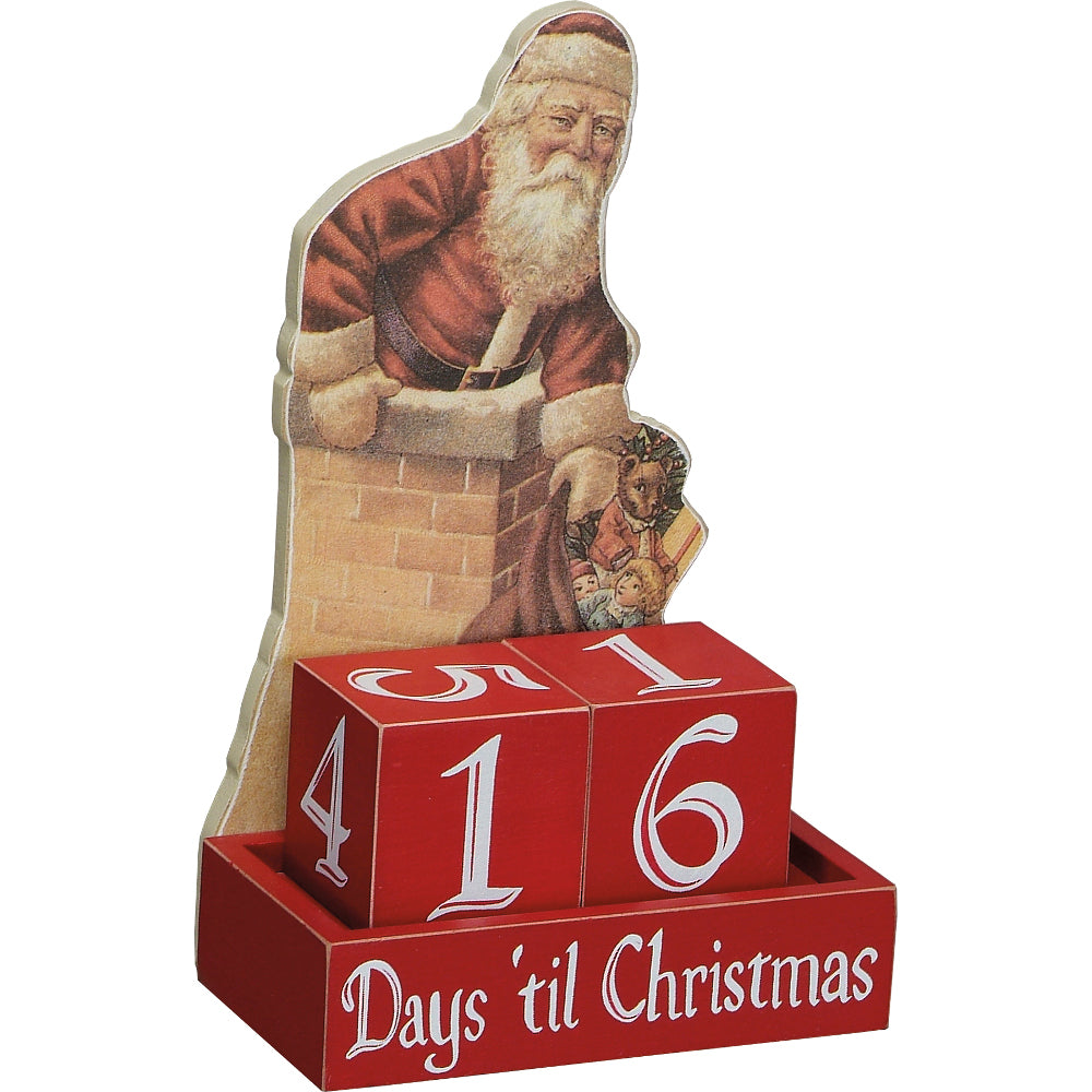 Santa Days Til Christmas Wooden Countdown Blocks