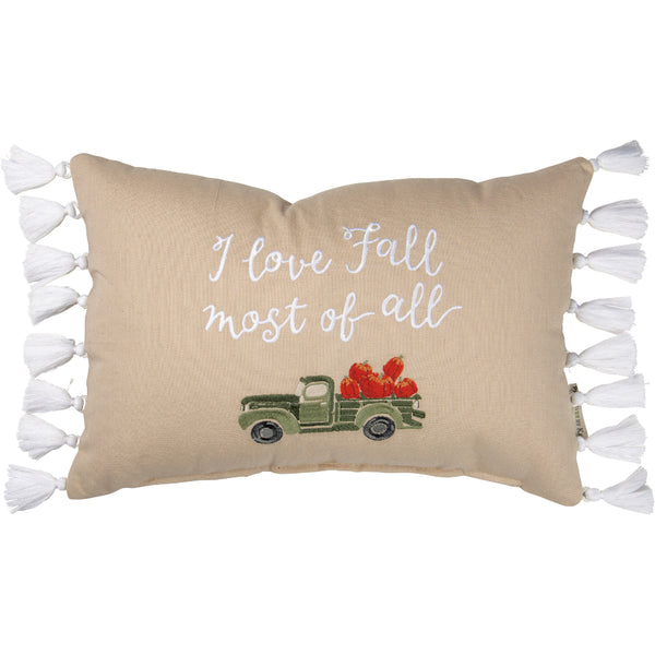 I Love Fall Most of All Cushion with Truck and Pumpkins