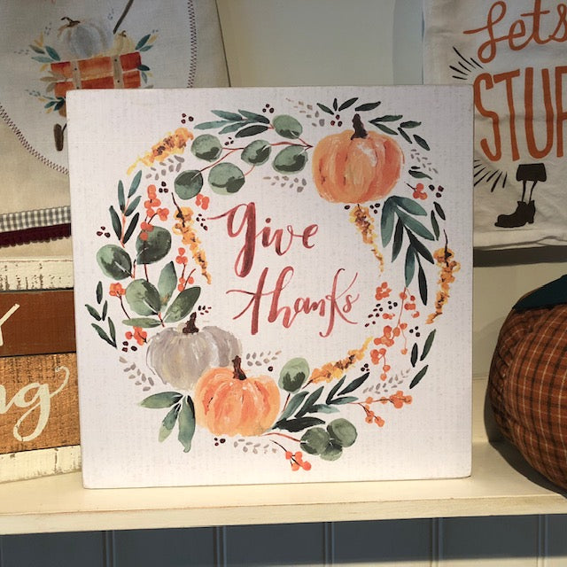 Large Give Thanks Box Art Sign