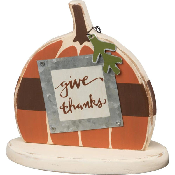 Give Thanks Pumpkin Shelf Sitter