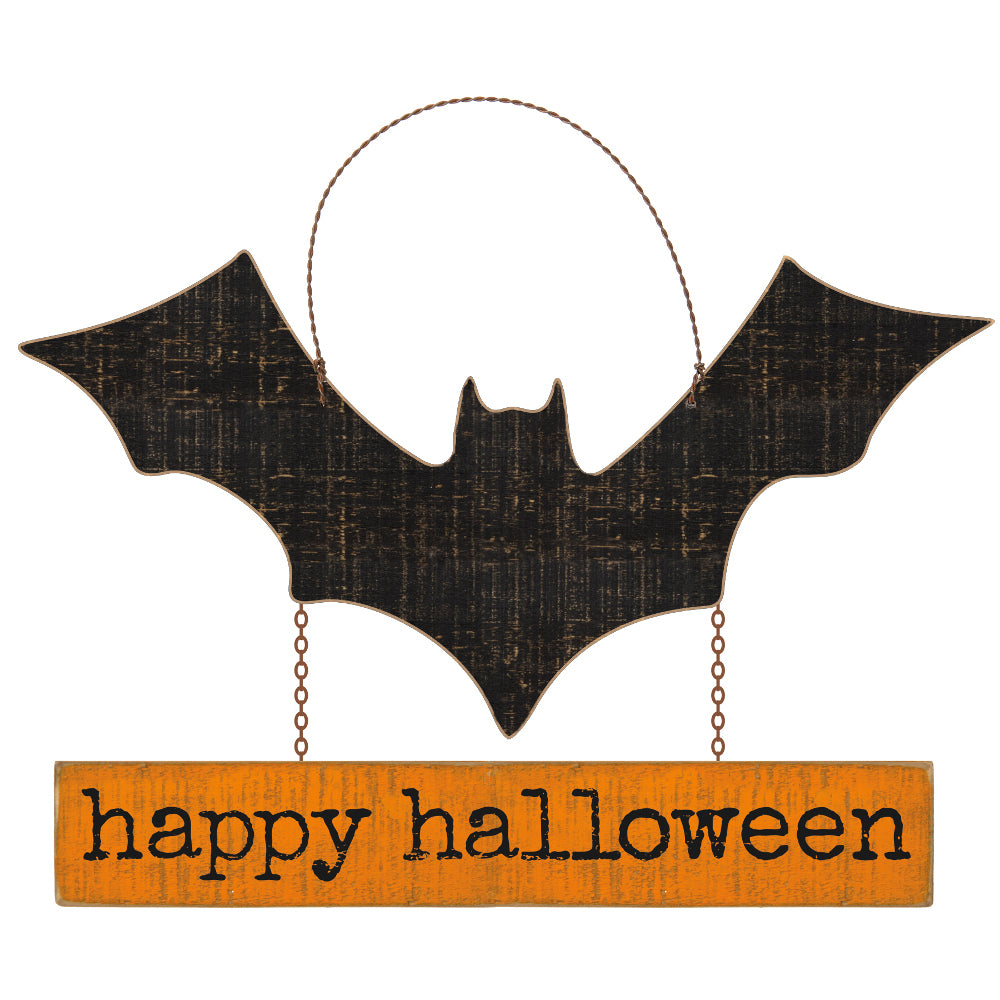 happy halloween bat sign | american fall and halloween decorations