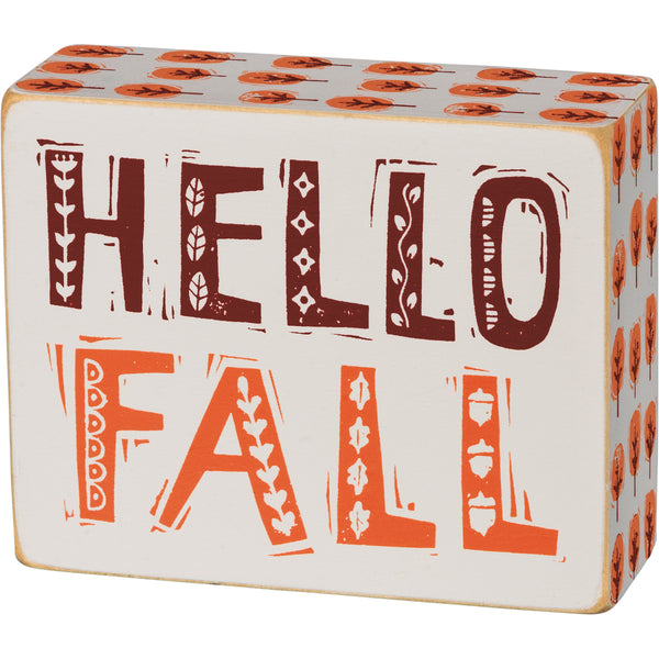 Hello Fall Box Sign