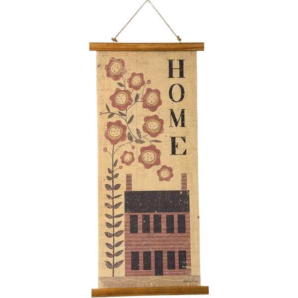 Saltbox House Folk Art Canvas Wall Hanging