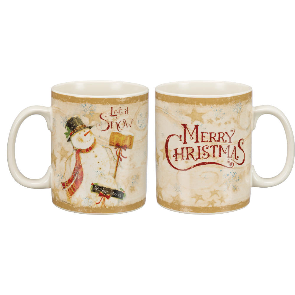 Merry Christmas Let it Snow Folk Art Mug