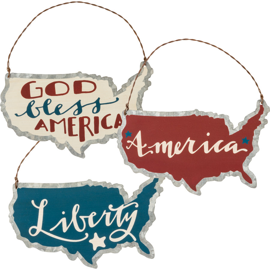 Set of 3 Americana Ornaments