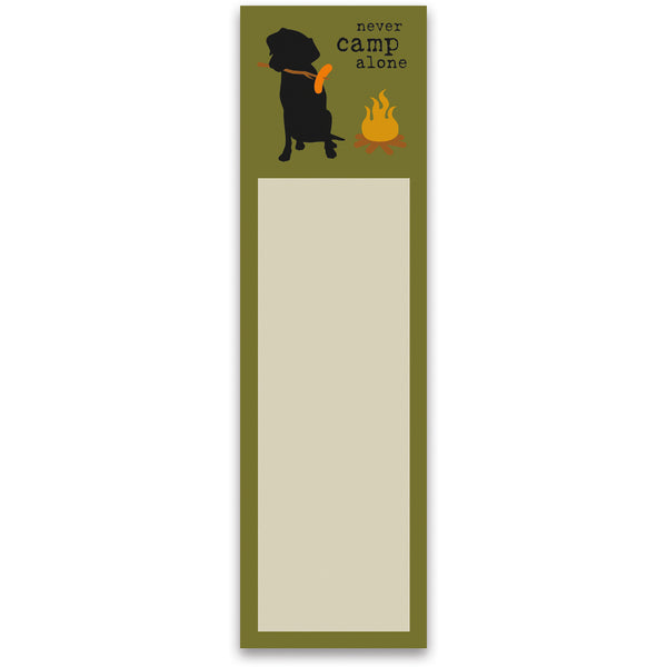 Never Camp Alone Black Lab Magnetic List Pad