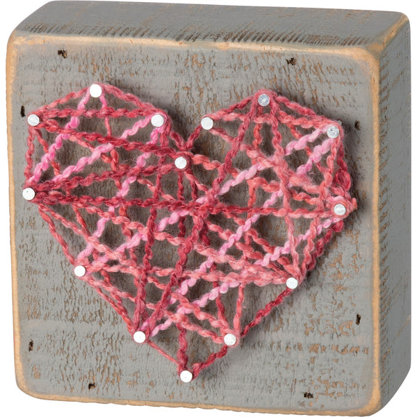 Pink Heart String Art Sign