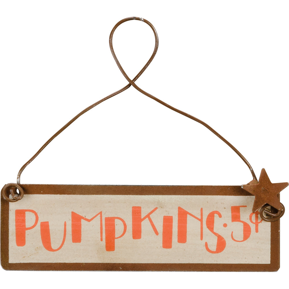 Mini Tin Pumpkins Sign