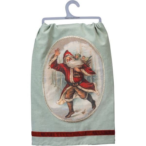 Retro Santa Towel with Velvet Trim Border