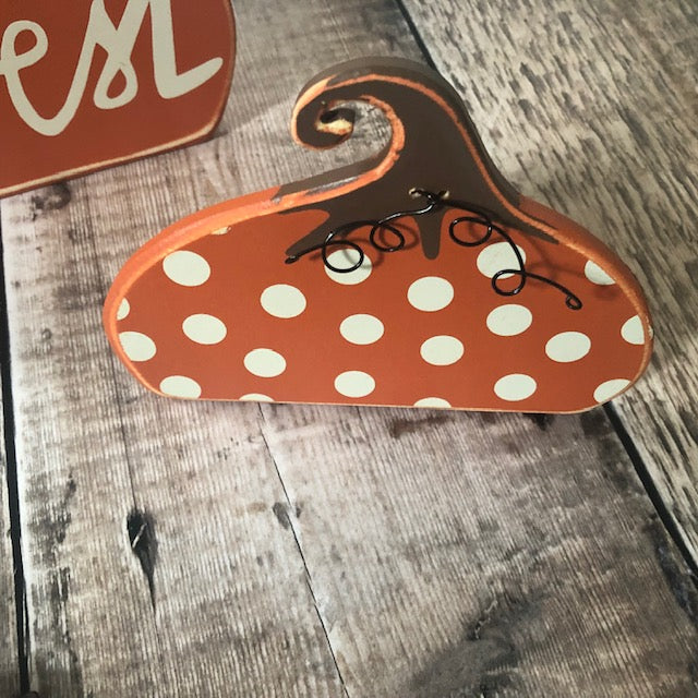 Spotty Wooden Standing Pumpkin Decoration UK