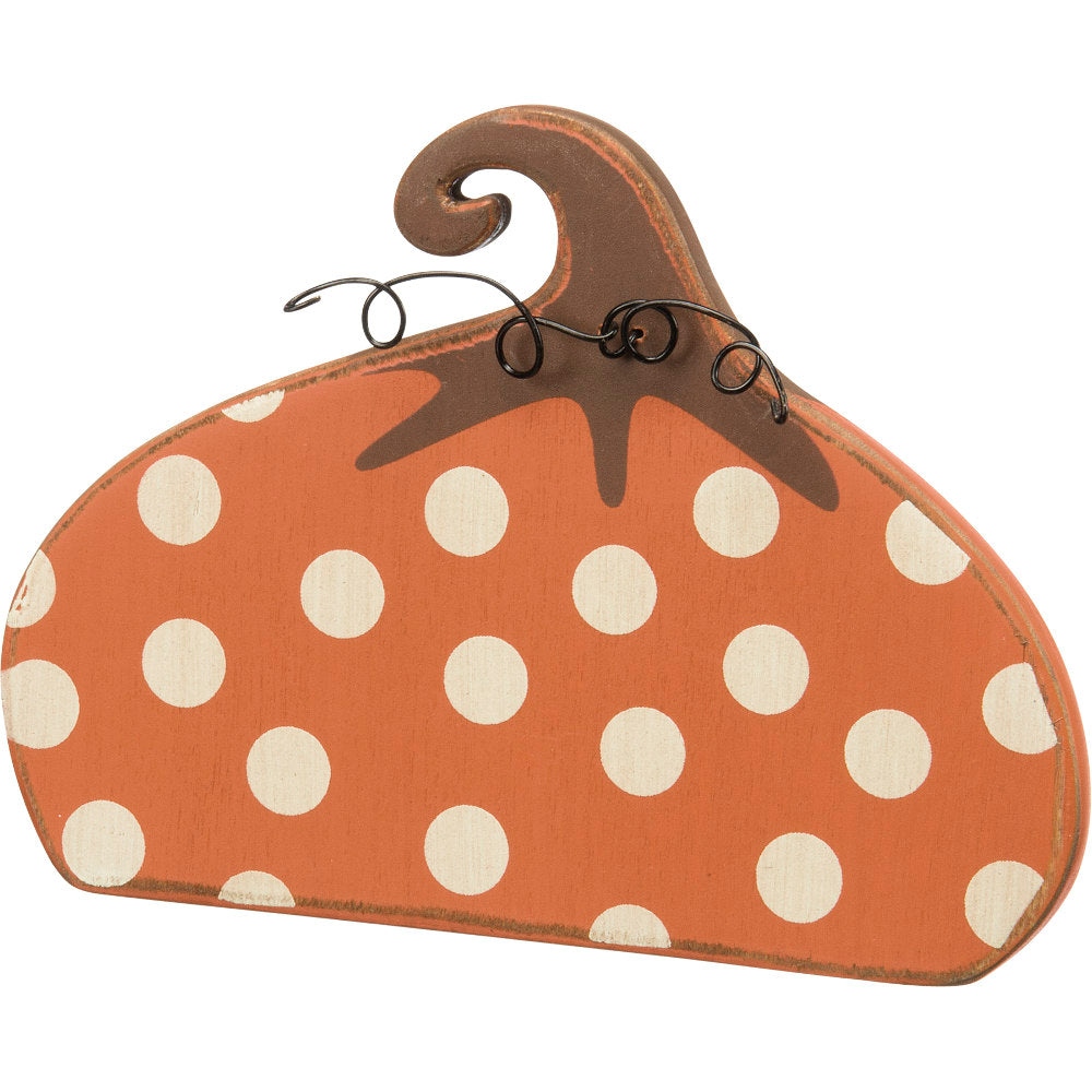 Wooden Dotty Stand Up Pumpkin