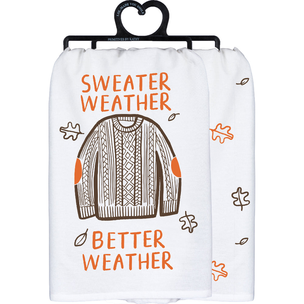 Sweater Weather Better Weather Fall Towel with Leaves