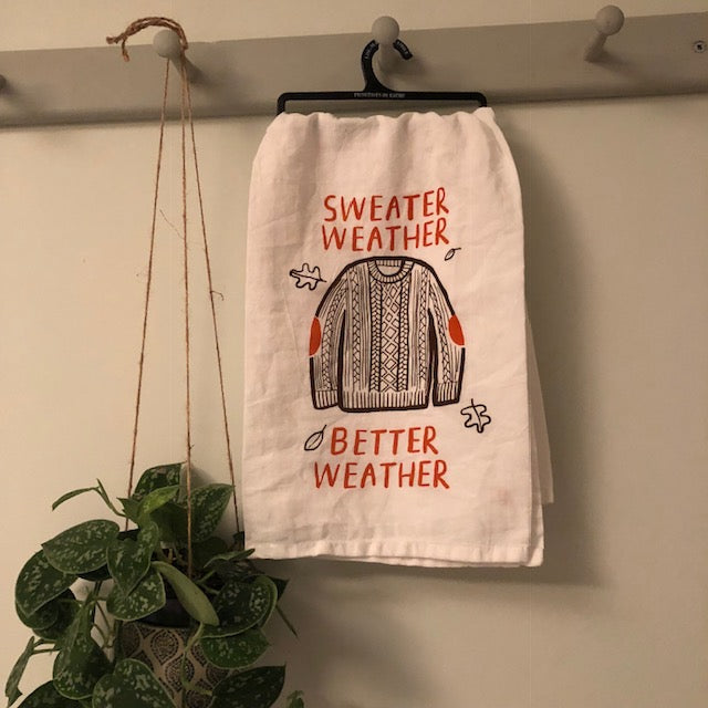 Sweater Weather Towel with Autumn Leaves