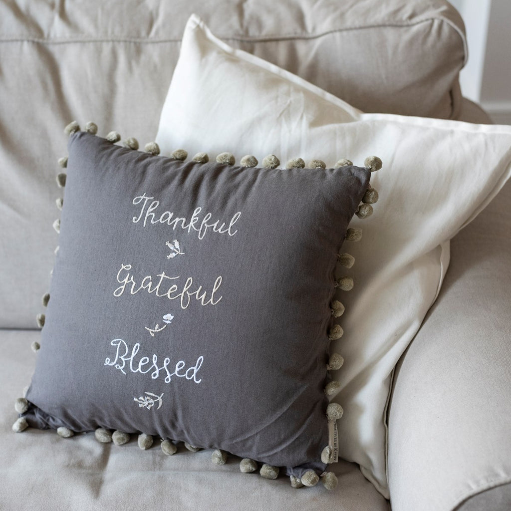Thankful Grateful Blessed Linen Cushion