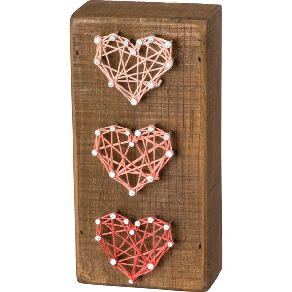 Three Hearts String Art Box Sign