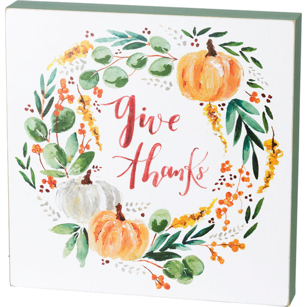 Large Give Thanks Box Sign