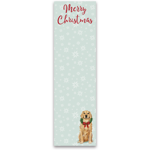Merry Christmas Magnetic Note Pad with Golden Retriever