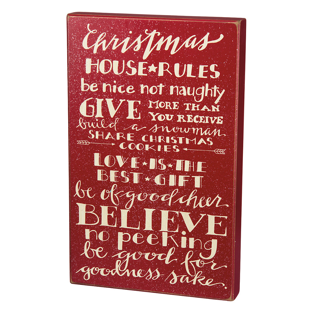 Christmas Rules Large Box Art Sign