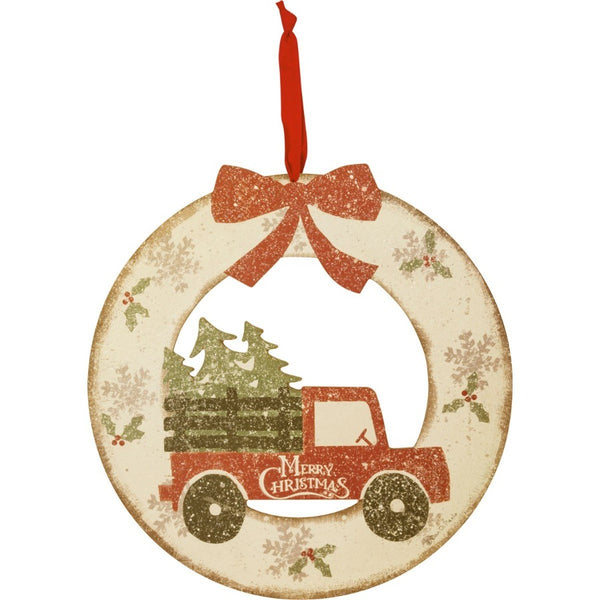 Merry Christmas Wooden Wreath with Truck