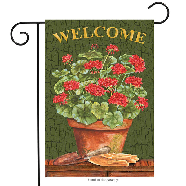 Potted Geraniums Welcome Garden Flag