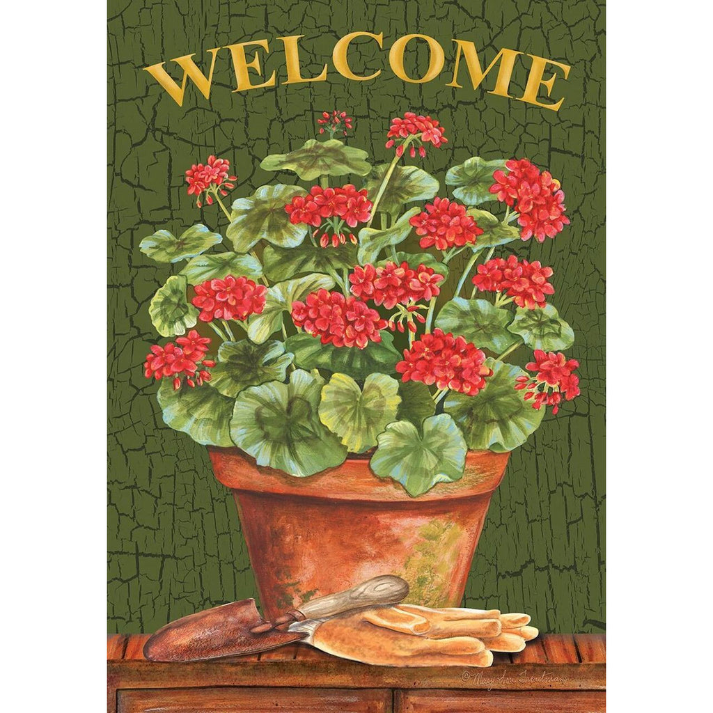 Welcome Geraniums Garden Flag